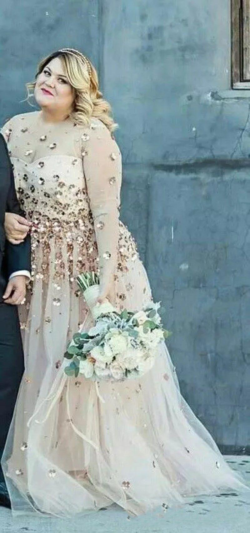 Discount Plus Size Long Sleeve Wedding Dresses 2018 Modest Shiny 3d ...