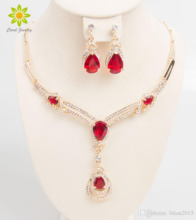 Acessórios de vestido de casamento nupcial conjuntos de jóias de pérolas africanas Zircon Beads 18 K banhado a ouro colar de festa de férias brincos conjunto