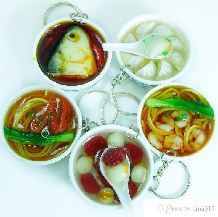 ultra realistic sweet soup and bowl key ring key chain hanging bowl keychain bean or meat keychains chinese asian food gag gift fun 1719 keyholder cool