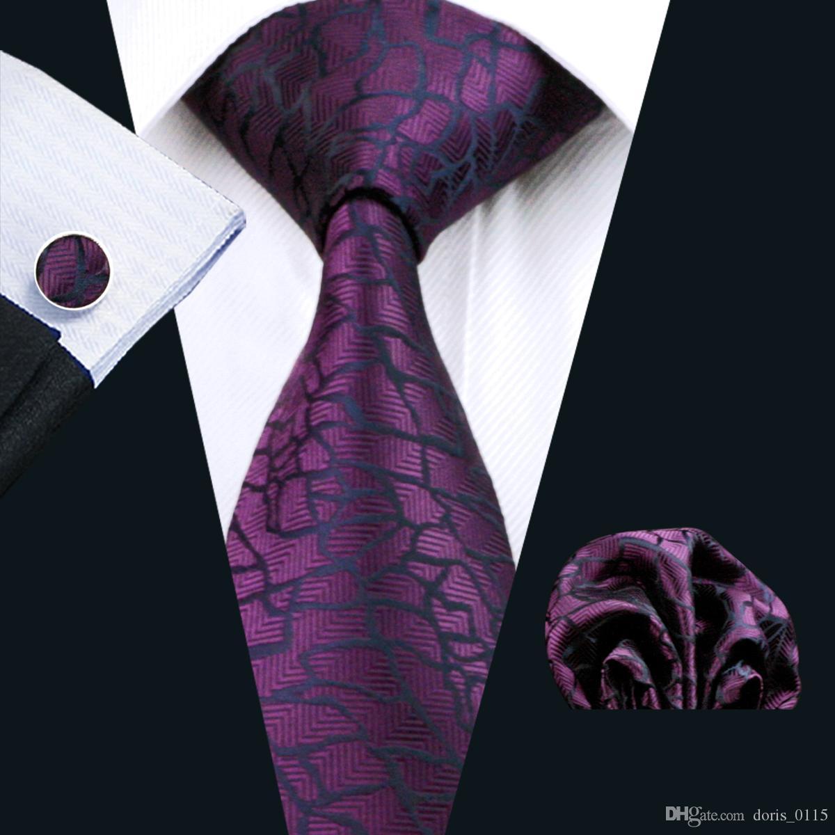자줏빛 실크 넥타이 세트 Hanky Cufflinks Mens Jacquard Woven Business 넥타이 8.5cm 캐주얼 N-1004 세트