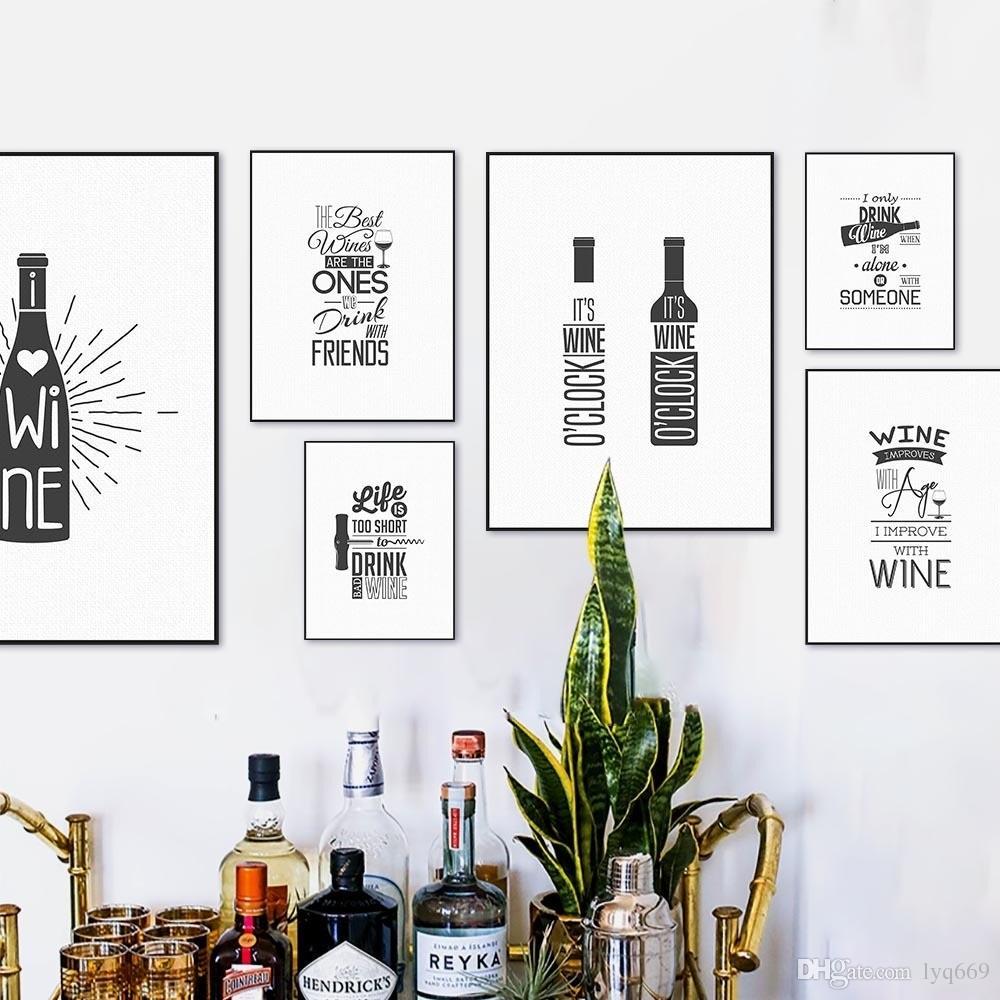 Großhandel Schwarz Weiß Wein Bier Flasche Typografie Hippie Zitate Poster  Nordic Küche Wandkunst Bild Bar Decor Leinwand Malerei Kein Rahmen Von ...