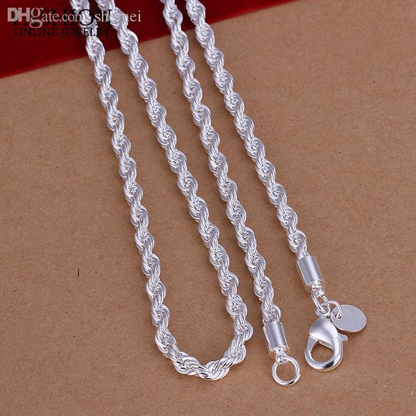 """Wholesale-FSN067 Men's 925 Sterling Silver Necklace Twisted Rope Chain 4mm 16-24"""" Wholesale 925 Silver Jewelry"""