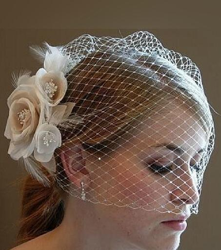 Hot Selling Free Shipping Bride Veil Comb Blusher Birdcage Tulle Ivory Champagne Flowers Feather Bridal Wedding Hots Hat Dress