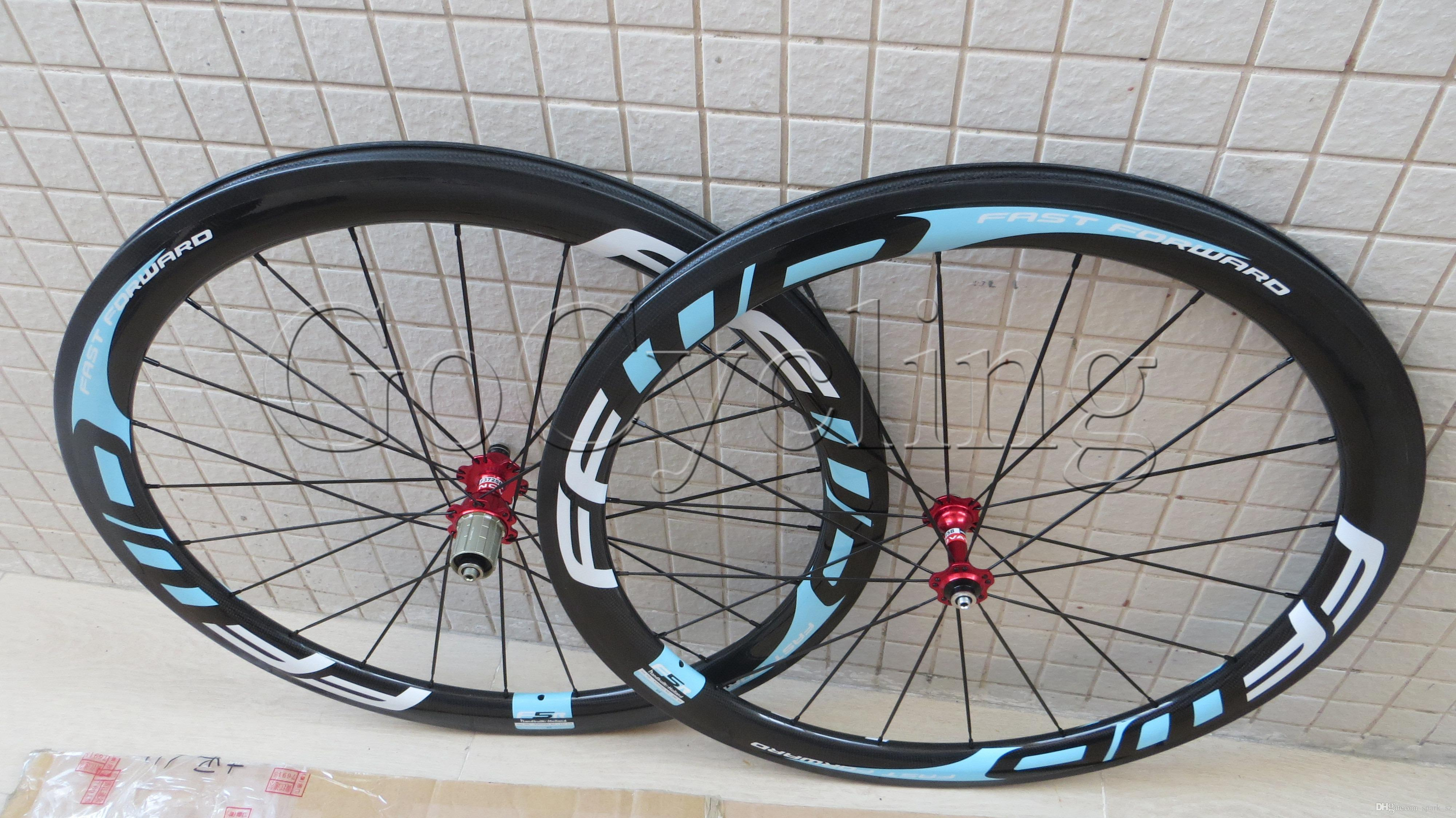 FFWD fast forward F5R carbon bicycle wheels 50mm clincher tubular road cycling bike 700C wheelset white blue 3k glossy