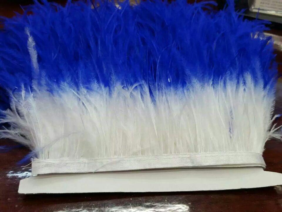 Gratis verzending - 50 yards / lot wit met koninklijke blauwe tip struisvogel veer trimmen pony op satijnen header 12-15cm in de breedte