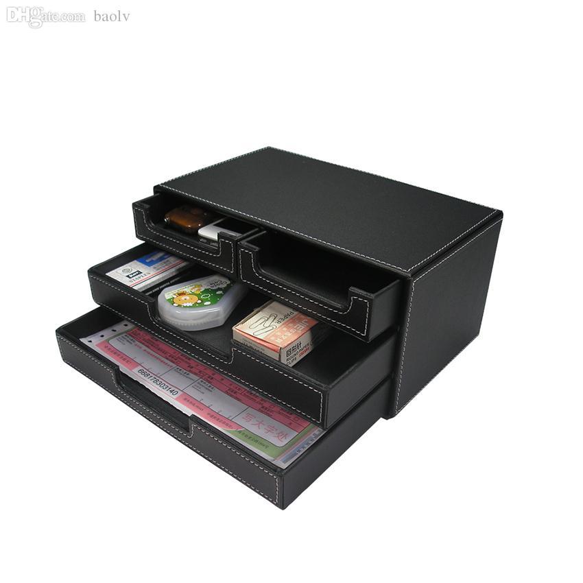 Wholesale-Kingfom 3 Schichten 4 Schubladen Aktenschrank Dokument Tray Stationery Organizer mit Holzstruktur PU-Leder A302 schwarz