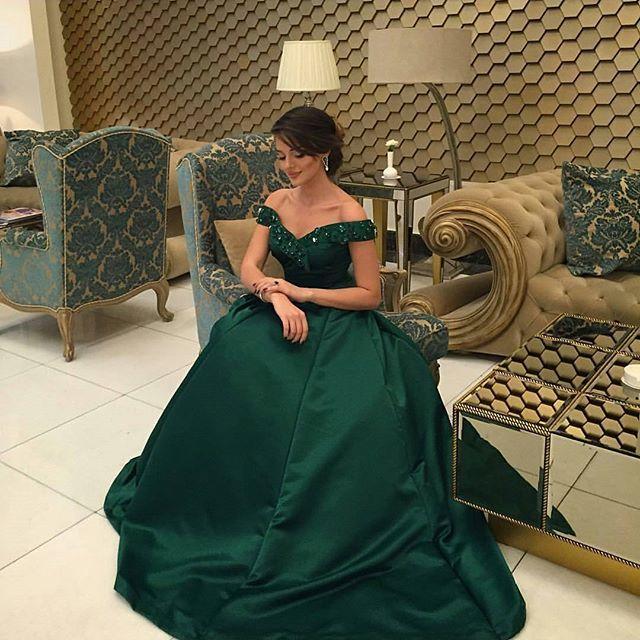 С Плеча Темно-Зеленый Пром Платья Bling Платья 2016 Весна Вечерние Платья Из Бисера Арабские Платья Пром Платья