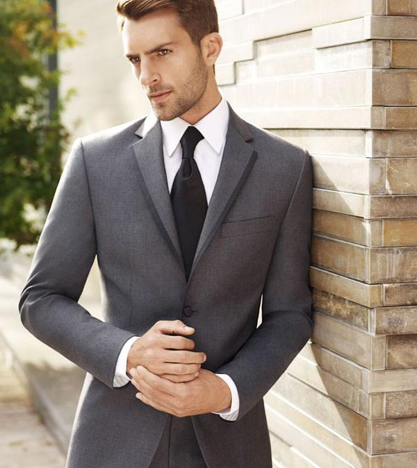 men suits 2015 gray wedding suits for Men groom Tuxedos notched ...