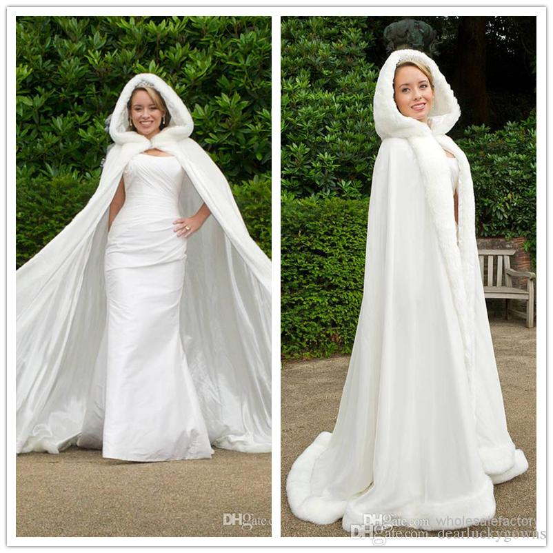 2018 2016 Winter White Wedding Cloak Cape Hooded With Fur Trim Long ...