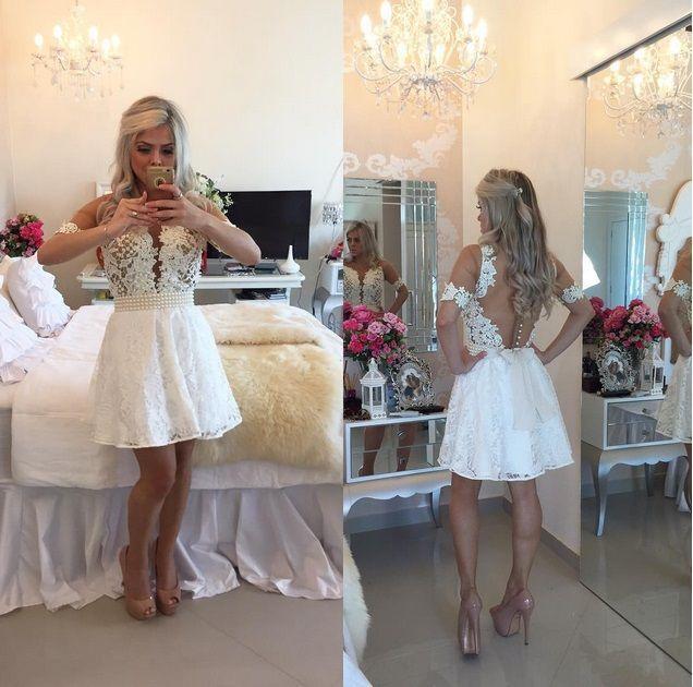 Белые короткие кружевные коктейльные платья 2019 Perals из бисеров выпускных вечеринок платья с длинными рукавами A-Line Beaking Sash Sheer задняя кнопка Выпускное платье