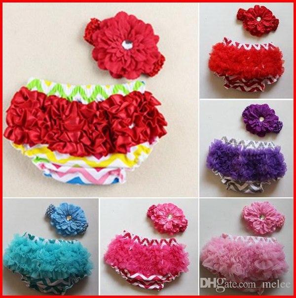 Meninas Chevron Ruffles pp calças onduladas bloomers + flores peônia Headband 2 pcs set cueca criança roupa briefs verão calções 9 conjunto