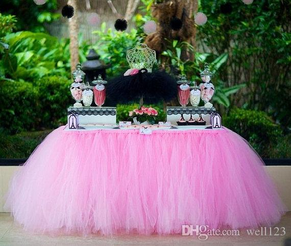 2018 Handmade Tutu Tulle Table Skirt Cover For Girl Princess