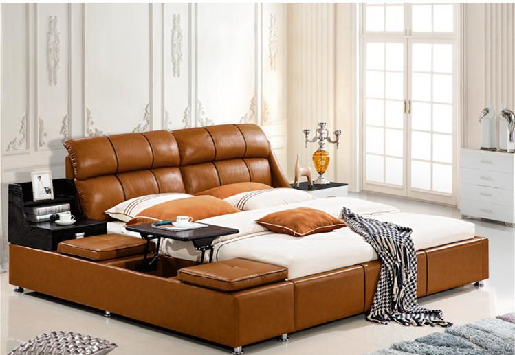 الحرة الشحن اصلية جلد BED LUXURY STYLE GOLDEN FASION بسيط مزدوج شخص QUALITY جيدة 180 * 200CM (A86D)