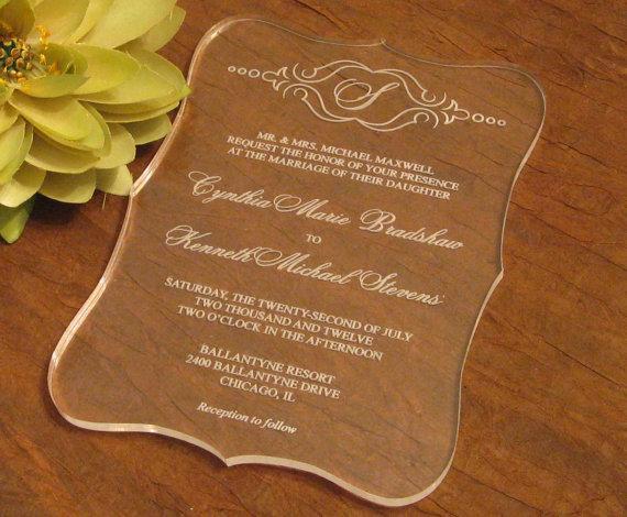2016 carte acrylique d'invitations claires de mariage de qualité, invitations de mariage, invitations acryliques, invitations de mariage,