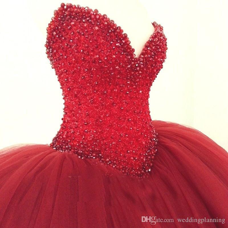 Acheter Robe De Bal Rouge 2017 Robe De Mariage Robes De Mariee Princesse Bling Bling Cristaux De Luxe Robe De Mariage Plus La Taille Custom Made Robe