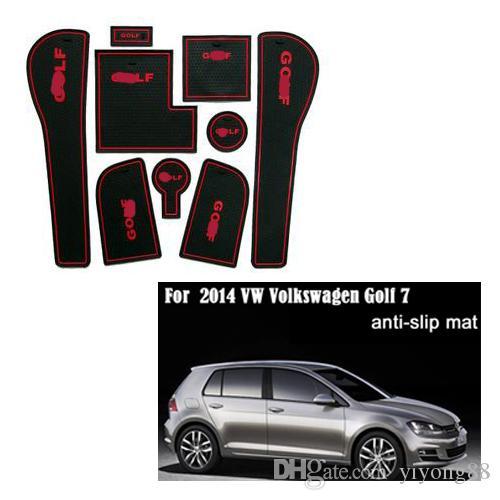 Para 2014 VW Volkswagen para Golf 7 PVC anti-derrapante ranhura portão porta mat pad / mat mat copo junta tanque / almofada carro acessórios 3color