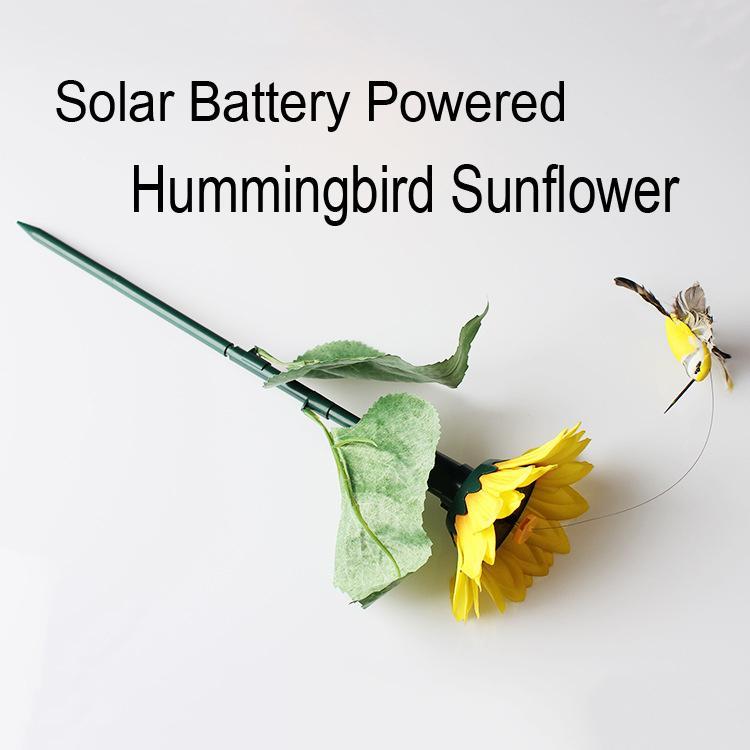 Batería solar Aleteo Fluttering Colibrí Girasol Alas y colas Jardín Patio Decoración Mejor regalo D709L