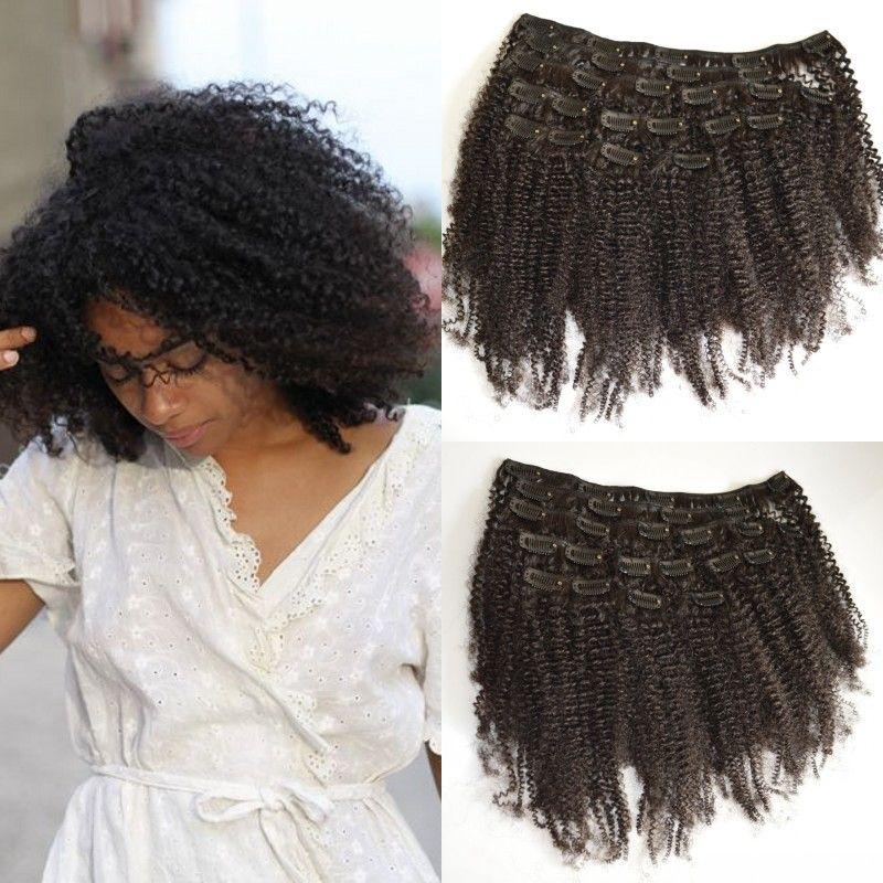 Clip in den menschlichen Haarverlängerungen 8 stücke Lot mongolian verworrene lockige Haare webt 8-24inch g-einfach