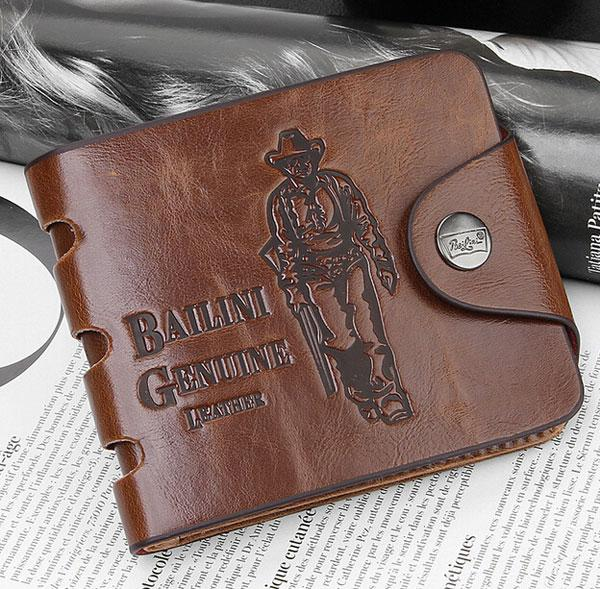New Mens Leather Wallets Cowboy Men Pockets Wallet Card Clutch Center Bifold Purse For Men/Women Spring Brand Free Shipping