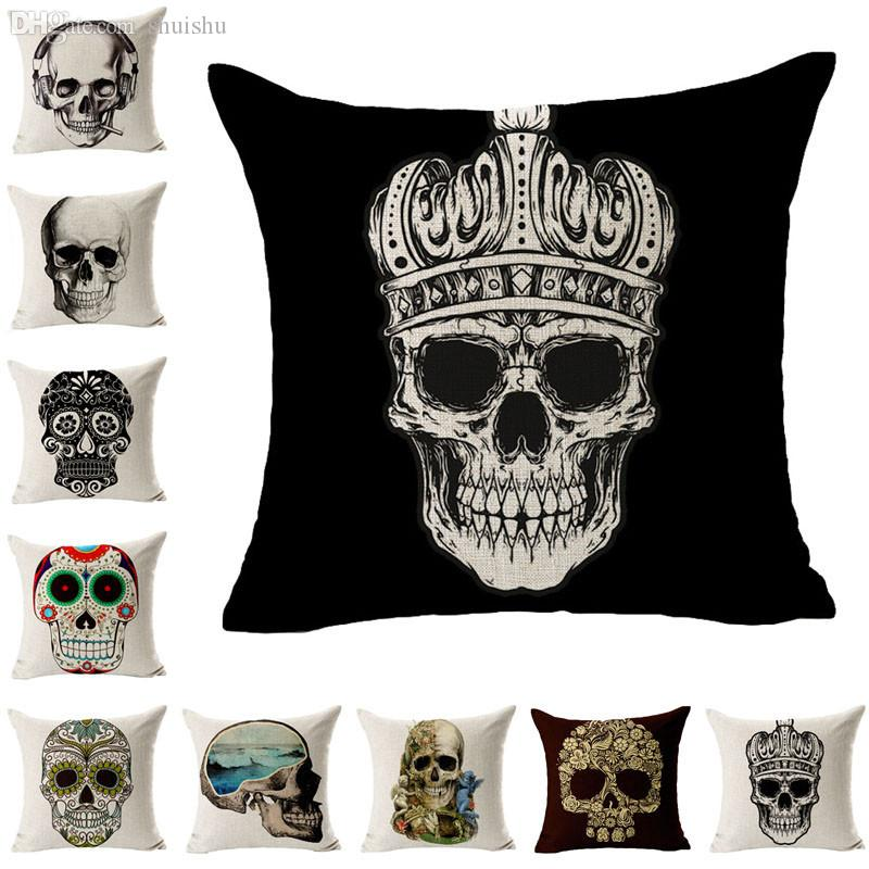 Wholesale-Lovesky New Linen Covers Skull Printed For Throw Pillow Case Wholesale & Freeshipping 45cm*45cm