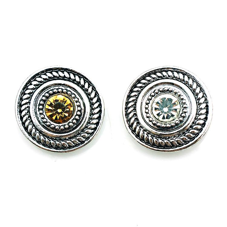 High Quantity 2 Color Snap Button Alloy Rhinestone 18mm Metal Clasp Button DIY Interchangeable Jewelry Accessories