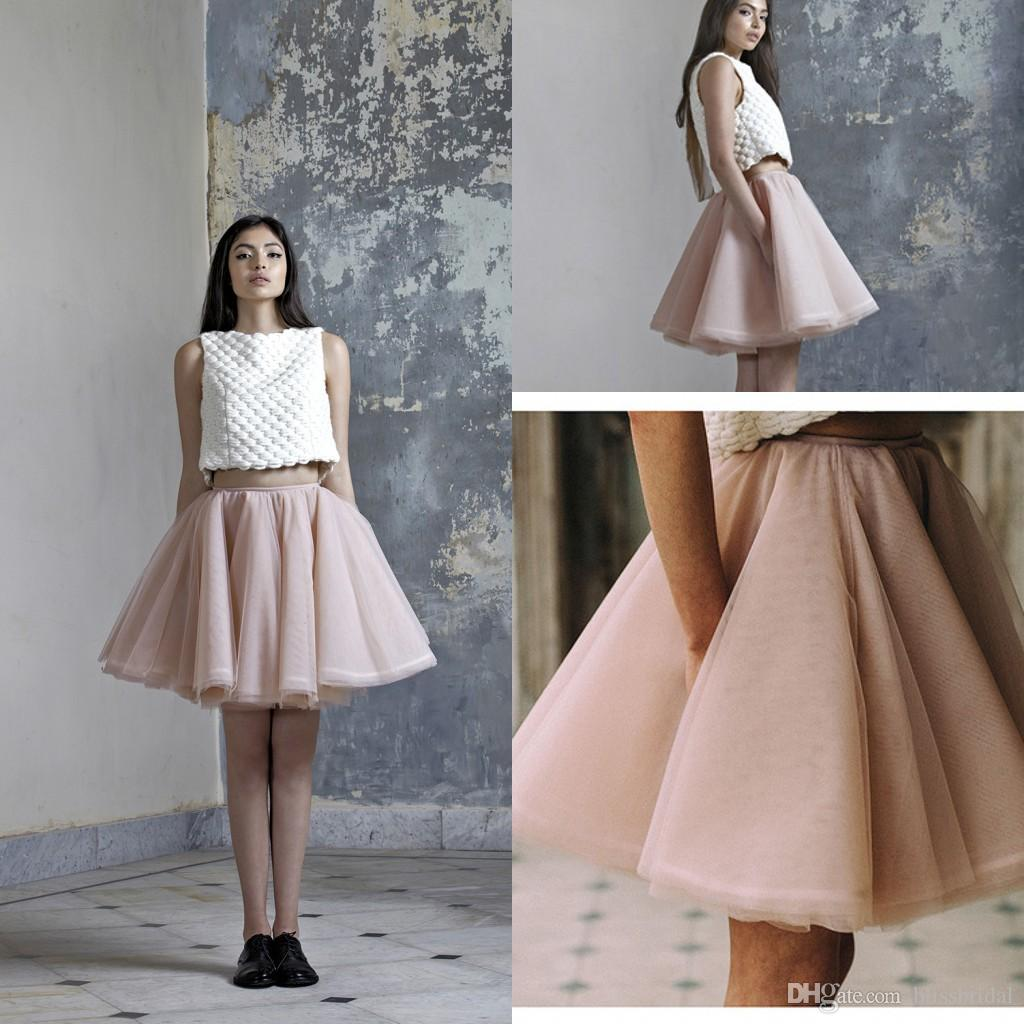 Light Pink Sexy Short Mini Skirts Tutu Tulle A Line Layered Party Dresses Junior Women Prom Gowns 2016 Custom Made