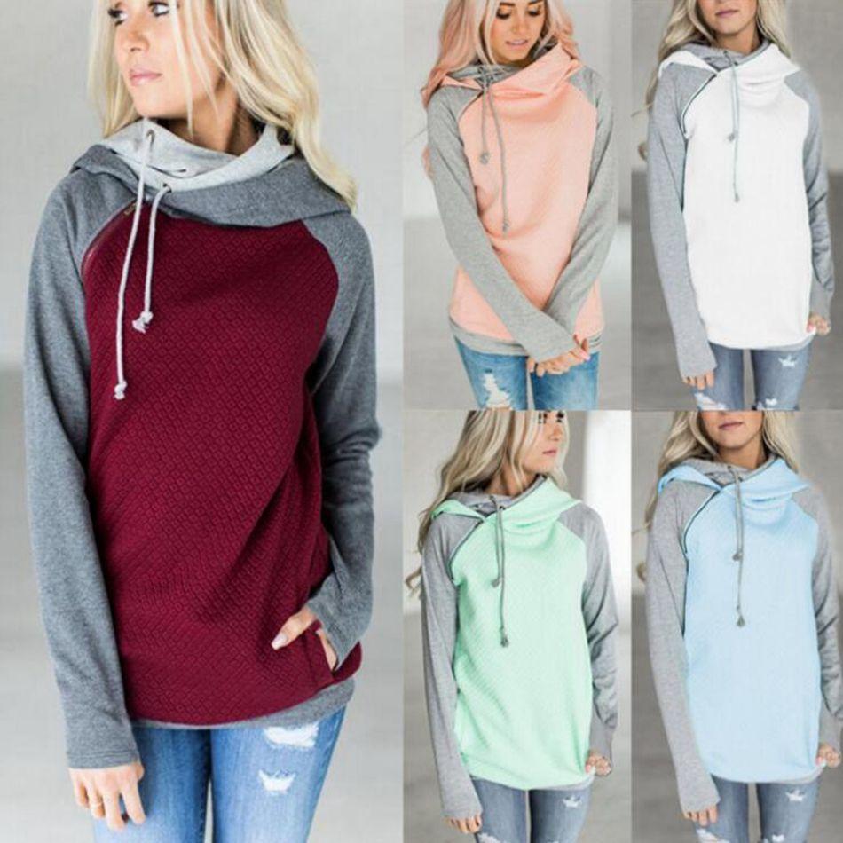 Dupla Cor Zíper Costura Hoodies Mulheres Manga Comprida Patchwork Pullover Inverno Mulheres Jaqueta Camisolas Jumper Tops OOA3397