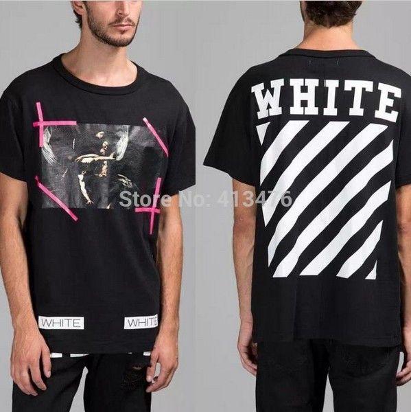 e68d4f0651b4 2016 TOP version summer men brand off white VIRGIL ABLOH T shirt print  religion painting CARAVAGGIO