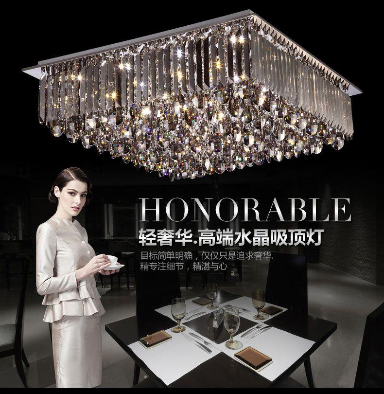 Nouveau design ! Luminaire moderne brillant généreux conduit segmenté luminaire plafonnier lustre, plafonnier en cristal carré intérieur
