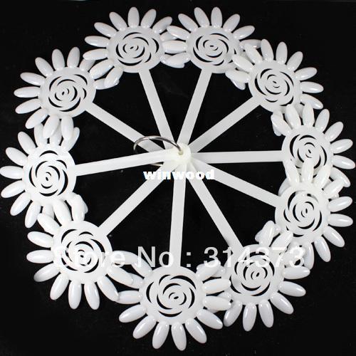 Venda por atacado - Marfim Rose Flower Forma Fan Board Chart Dicas Falso Stick Salon Nail Art DIY Design Polonês Dobrável Ferramenta de Exibição Prática