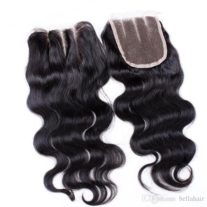 Peruanische Jungfrau-Spitze-Schliessen Menschliches Haar 4x4 Körper-Wellen-Top Verschluss mit Baby-Haar Drei Teil-natürliche Farben-freies Verschiffen Bella Haar