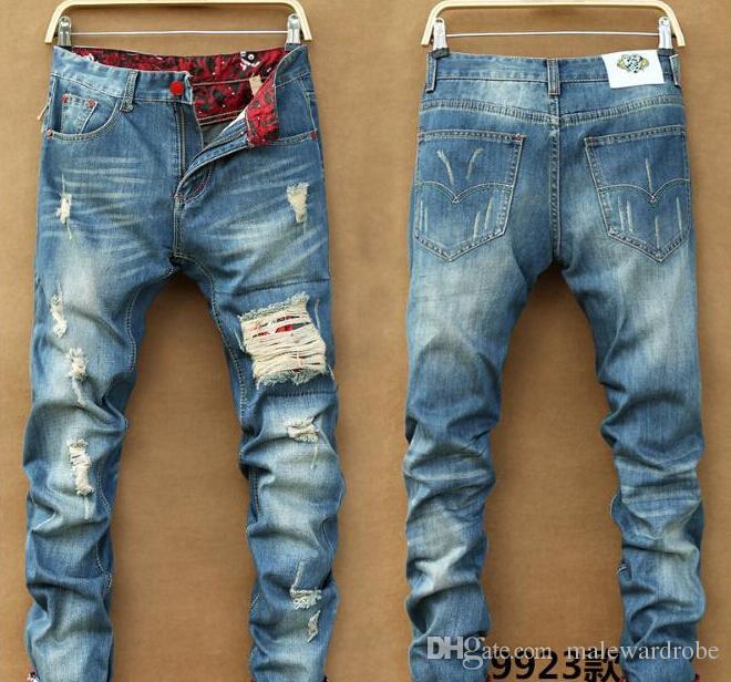 Men Slim Skinny Pants Runway Hetero Elastic Denim Pants destruído Ripped Jeans