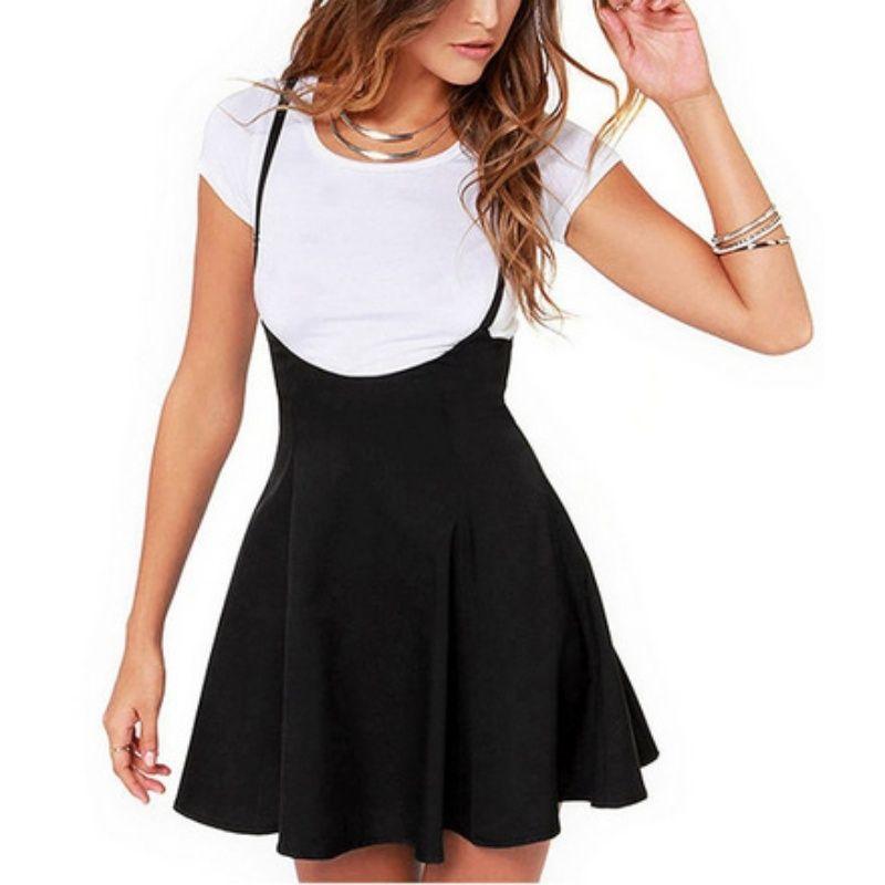 Wholesale- Women Black Skirt with Shoulder Straps Pleated Skirt Suspender Skirts High Waist Mini School Skirt