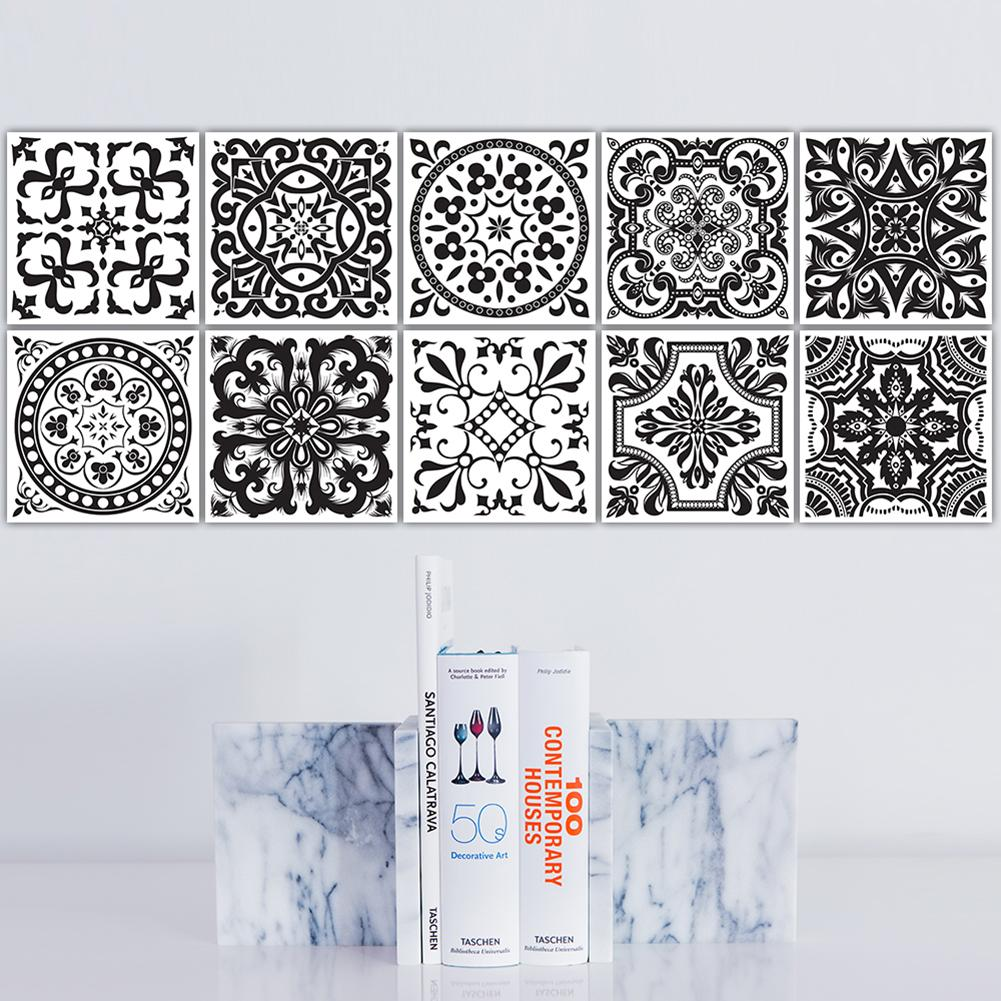 Black And White Retro Tile Tiles Stickers Pvc Bathroom Toilet Waterproof Wall Stickers Home Decor Wall Poster Adesivo De Parede