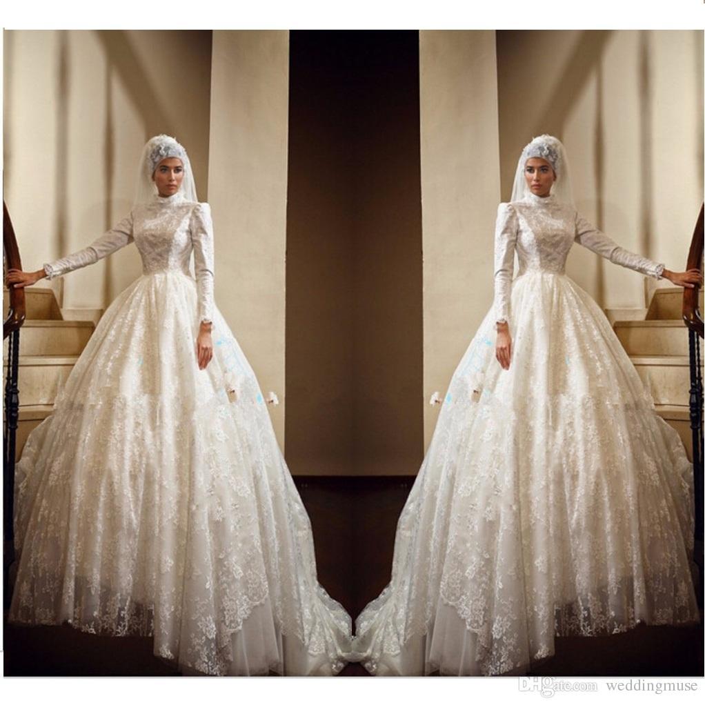 2020 Luxury Muslim Wedding Dresses Ball Gown Long Sleeve Lace Appliques Long Length High Neck Modest Dubai Bridal Wedding Gown A127