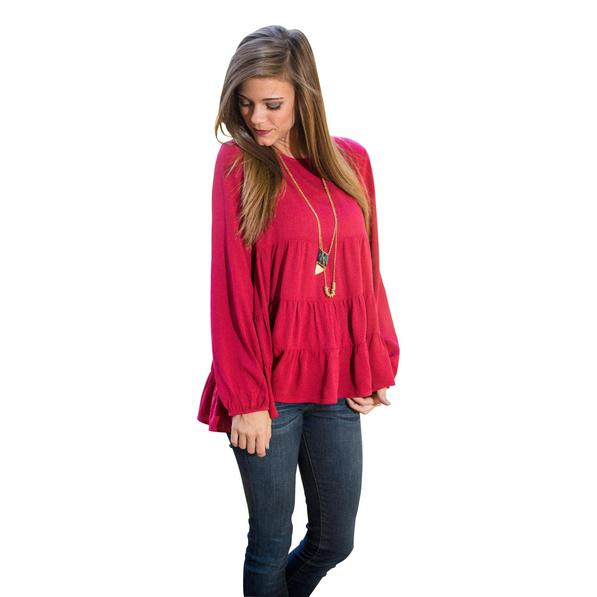 2016 Spring Fashion New Women Blouses Tops Europe Selling Pleated Chiffon Women Long Sleeve Shirts Red Loose Blouses Winter for Women