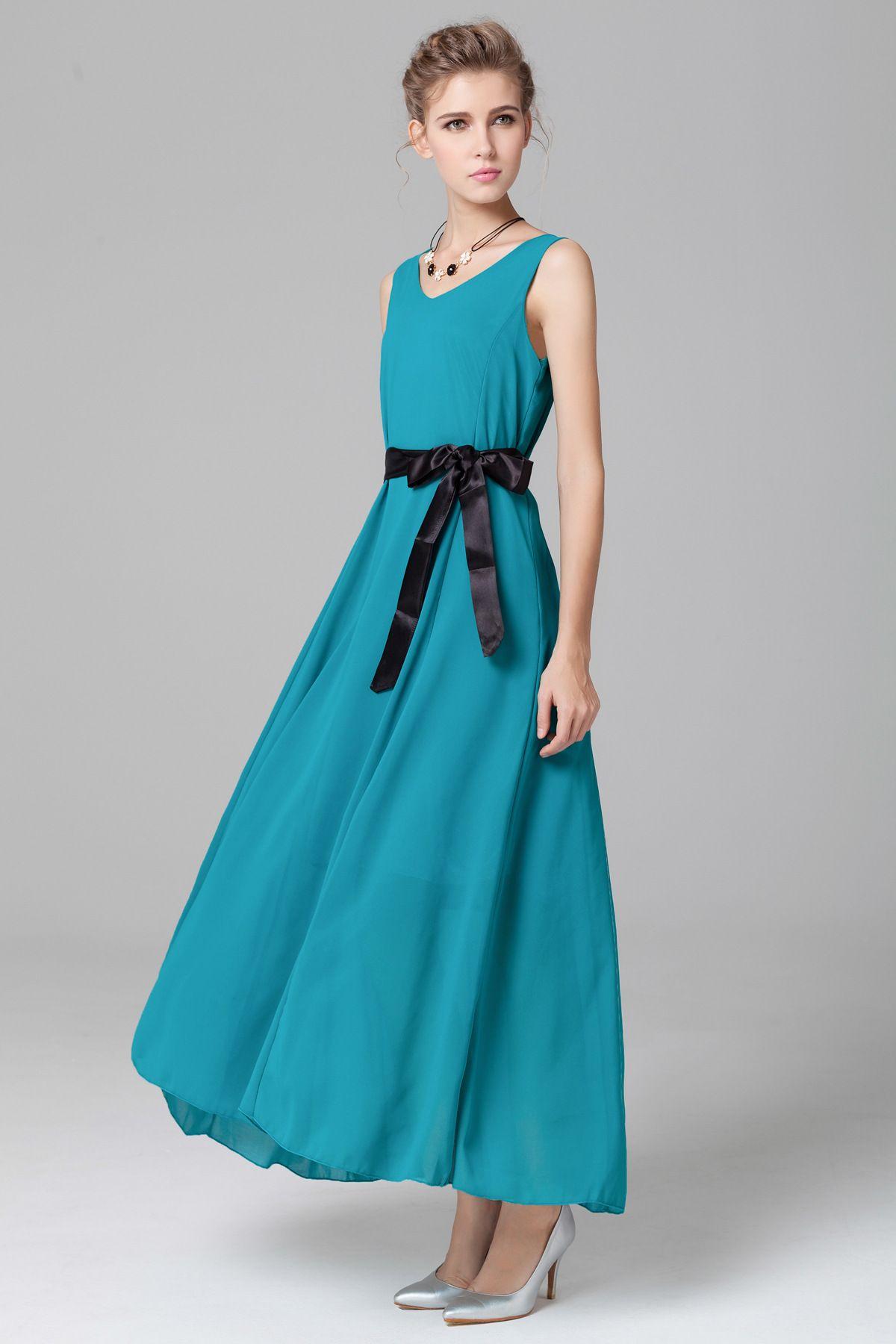 Ol D223 Elegant Events Summer Ladies Dress Sleeveless Ribbon V Neck ...