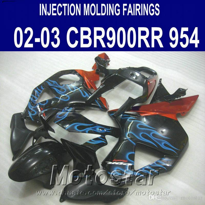 Stampaggio a iniezione per carene Honda cbr900rr 954 2002 2003 fiamme blu nero motobike CBR900 954RR carenatura ABS CBR954 02 03 YR16