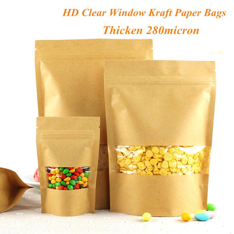 Thicken Stand Up Brown Kraft Paper Zipper Bags for Coffee Nuts Snack Tea Packaging Storage Pouches with Clear Window