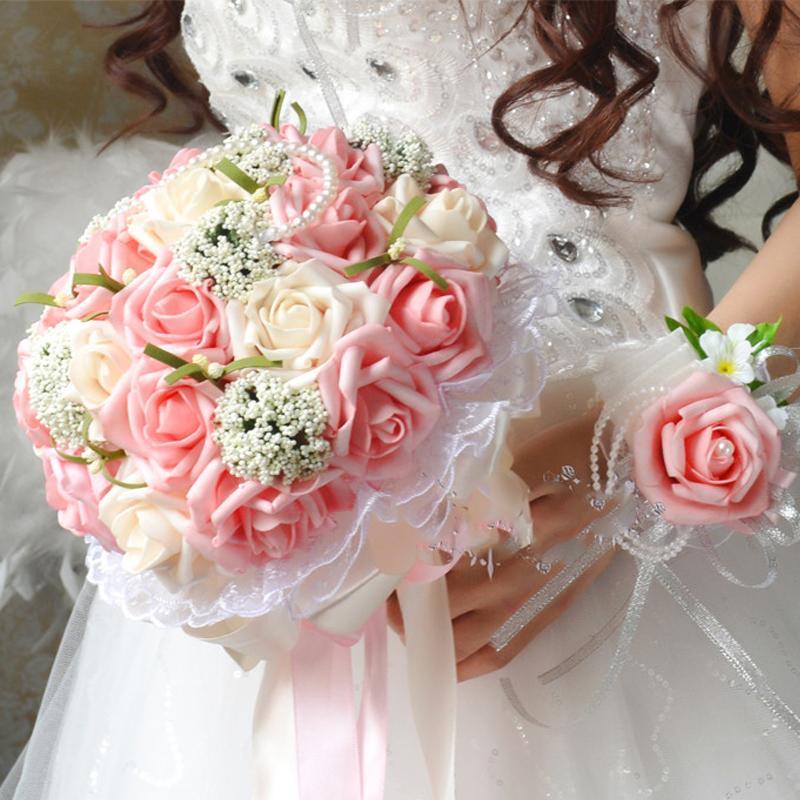 Bouquet Sposa Rosa E Bianco.Acquista Bouquet Da Sposa A Buon Mercato Rosa E Bianco Fiore Di