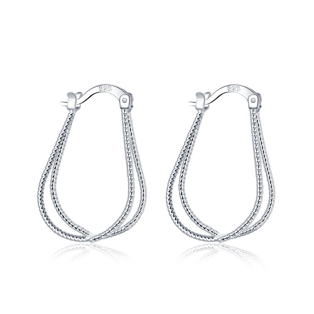 Silver Diamond-Cut Loop Clicktop Hoop Earrings 1pair