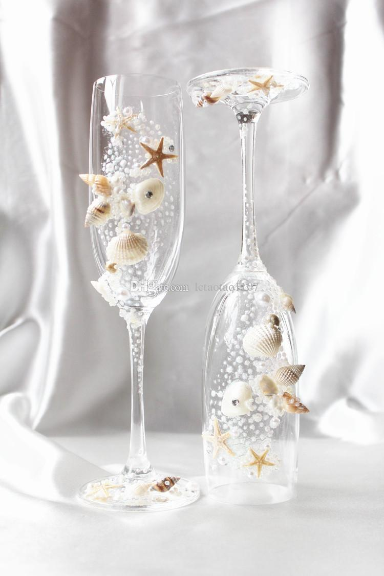 Handmade Conch Starfish Flower Pearl Crystal Champagen Flute Without ...