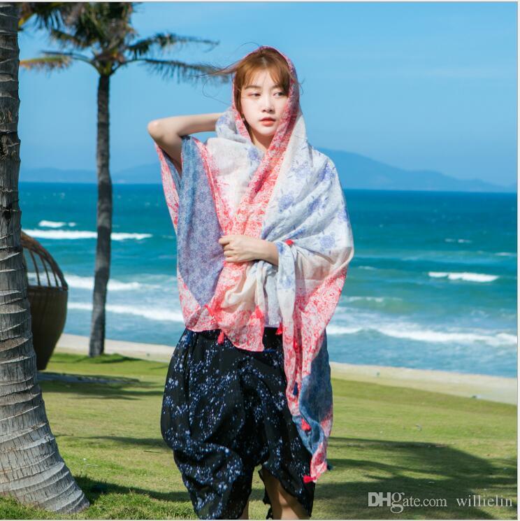 Großhandel 2017 südkoreanische Ausgabe der neuen Baumwolle Leinen dünnen Schal gedruckt Baumwolle Sonnenschutztuch