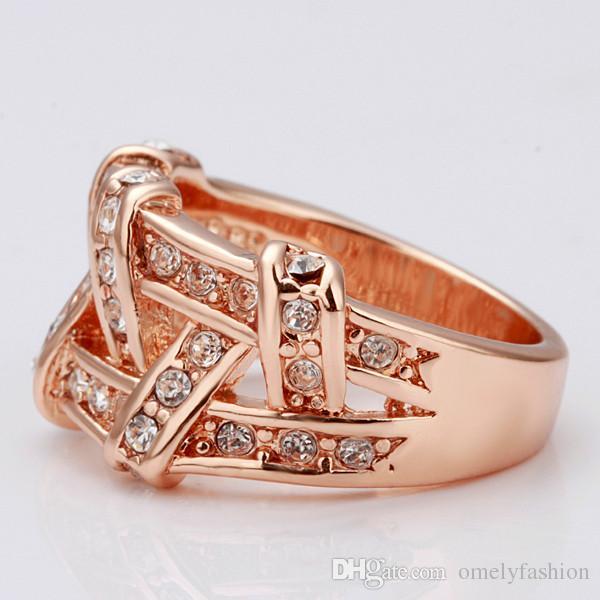 18K Gold Filled Rose Gold Rock Ring for Man Women Fashion Crystal