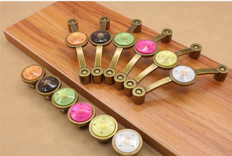 Antique Copper kids colorful orange pink white green yellow purple crystal Zinc alloy single cabinet handles and knobs cute drawer pull #16