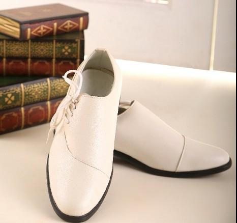 2015 fashion new pu leather white dress shoes mens casual