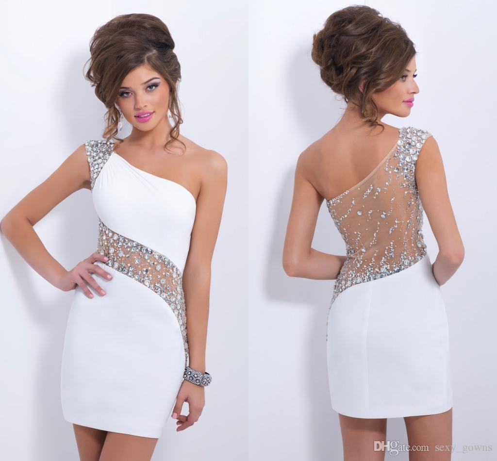 Blush Column Short Party Dresses One Shoulder Tulle Backless ...
