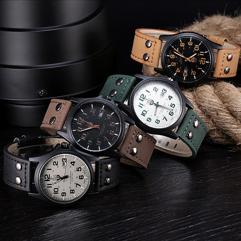Sanwony nova chegada do vintage clássico data pulseira de couro esporte relógio de quartzo quente