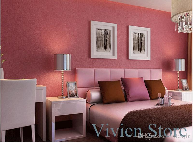 Non-woven plain solid color wallpaper fashion silk modern bedroom ...