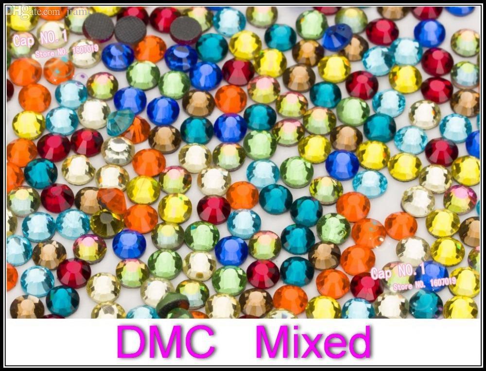 Atacado-Mix Tamanhos de cores misturadas, claras strass colorido SS6 SS10 SS16 SS20 SS30 DMC cristais FlatBack nail art mulheres vestido